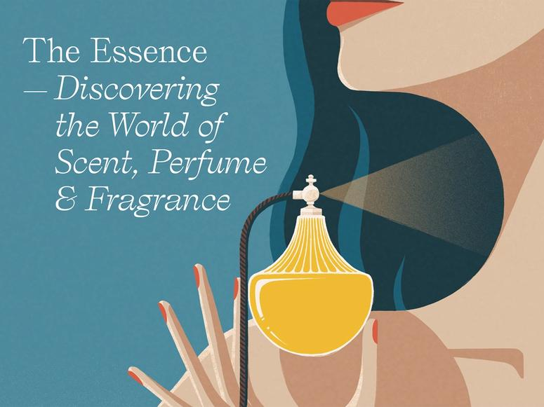 The book cover of The Essence, depicting a woman donning perfume.