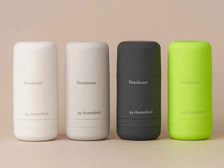 A lineup of four Humankind deodorants in multicolored applicators.