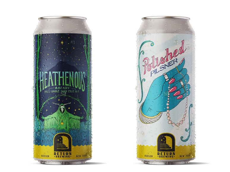 Return Brewing's inaugural beers, Heathenous and Polished Pilsner.