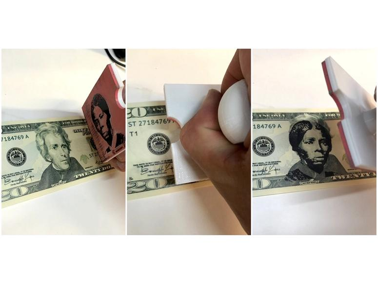 Someone stamping Harriet Tubman's face over Andrew Jackson's in a photo triptych.
