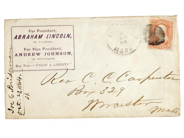 A vintage envelope addressed by former president Abraham Lincoln