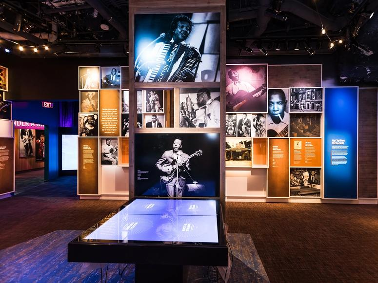 A photo display in the Nashville Museum of African American Music.
