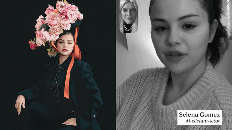 Fashion stylist Kate Young FaceTimes with actress and musician Selena Gomez