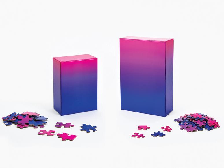 A blue and purple ombre puzzle.