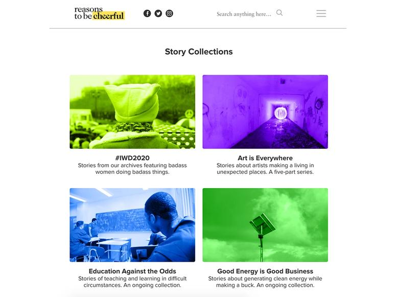 Story collections on the Reasons to be Cheerful website.