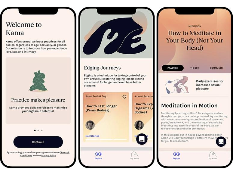 Screens from the Kama app featuring suggestions and techniques.