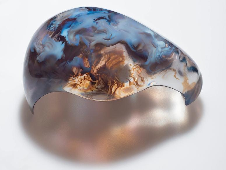 A blue, brown, and translucent sculpture by Neri Oxman.