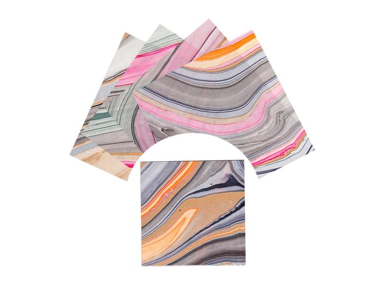 Marbled, multicolor origami paper.