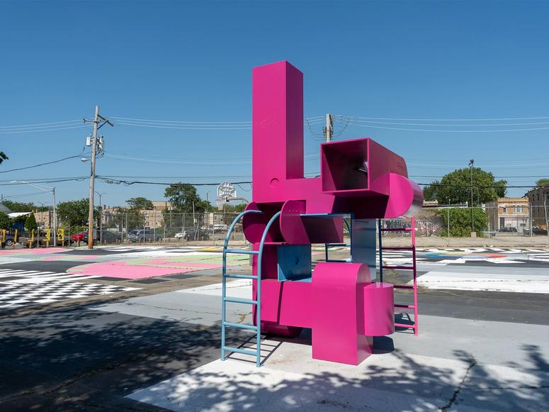"""""""Block Party,"""" an installation in Bell Park by Studio Barnes, in collaboration with University of Colorado Boulder architecture and urban design professor Shawhin Roudbari and the Chicago nonprofit MAS Context. (Photo: Nathan Keay)"""