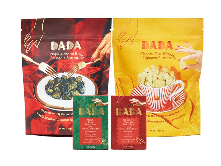 An assortment of brightly colored Dada snack packs.