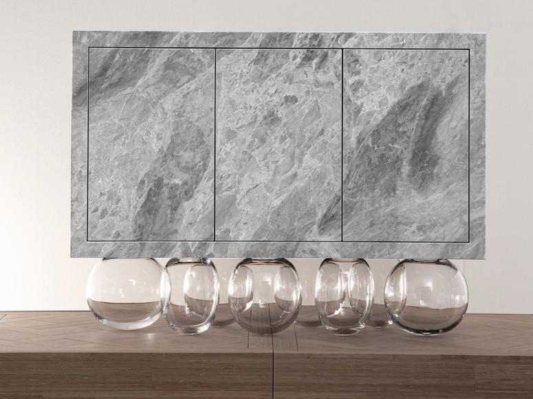 A glass and stone Mathieu Lehanneur sculpture.