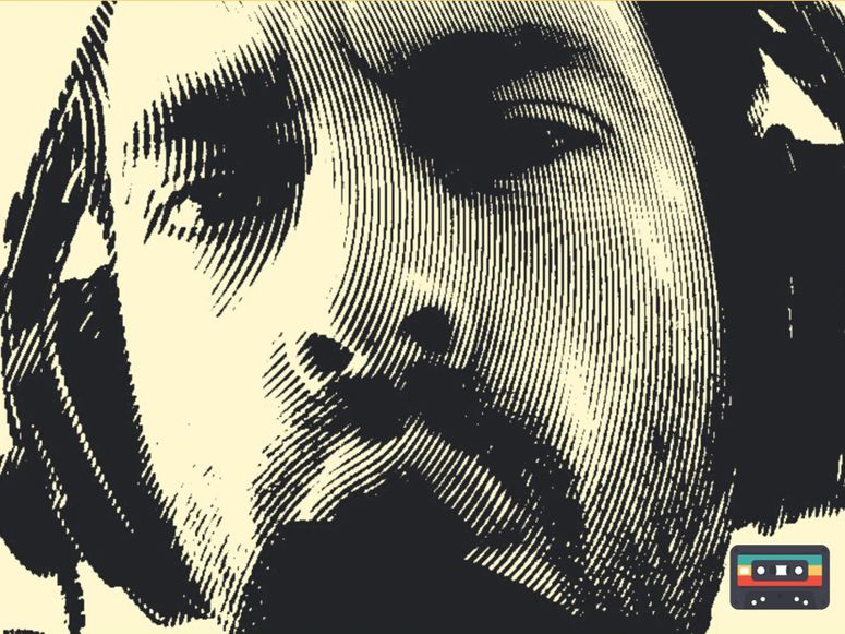 An illustration of a man wearing headphones