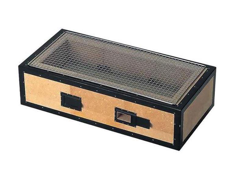 A simple, rectangular binchotan grill on a white background.