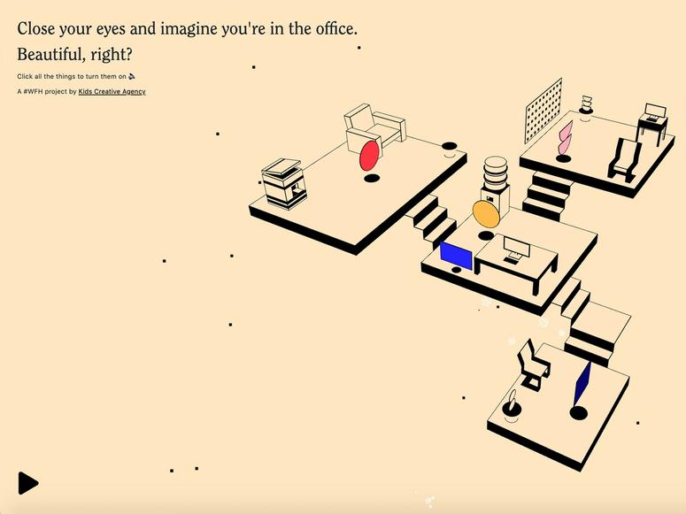 The I Miss the Office website, showing a few different rooms issuing sound.