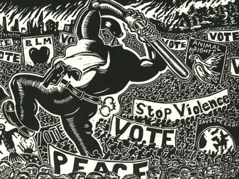Black and white illustration of a policeman walking on top of a crowd of peaceful protestors holding signs