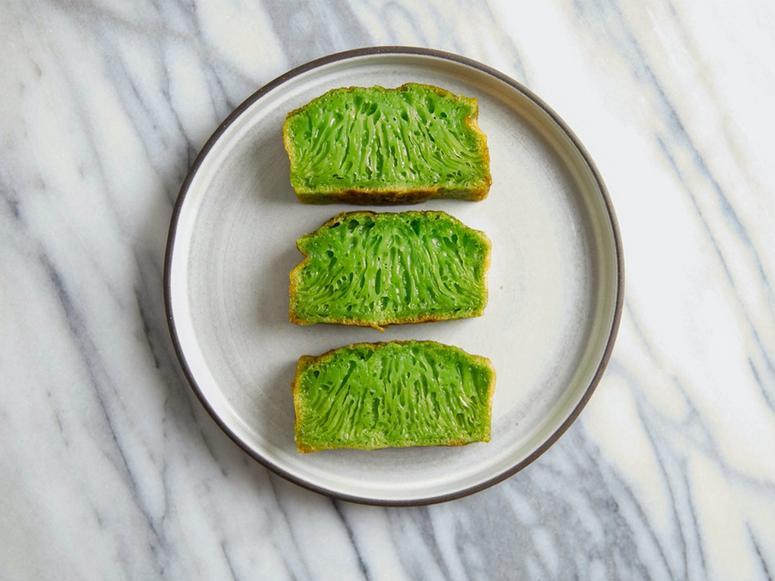 Bánh bò nướng, a green pandan honeycomb rice cake