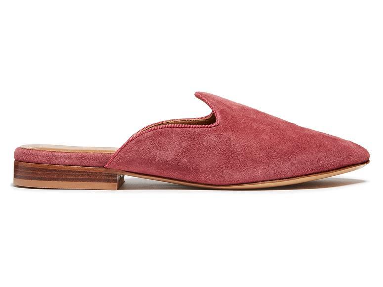 Rose-colored Le Monde Beryl Venetian slippers.