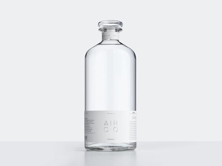 A clear bottle of Air Co. vodka.
