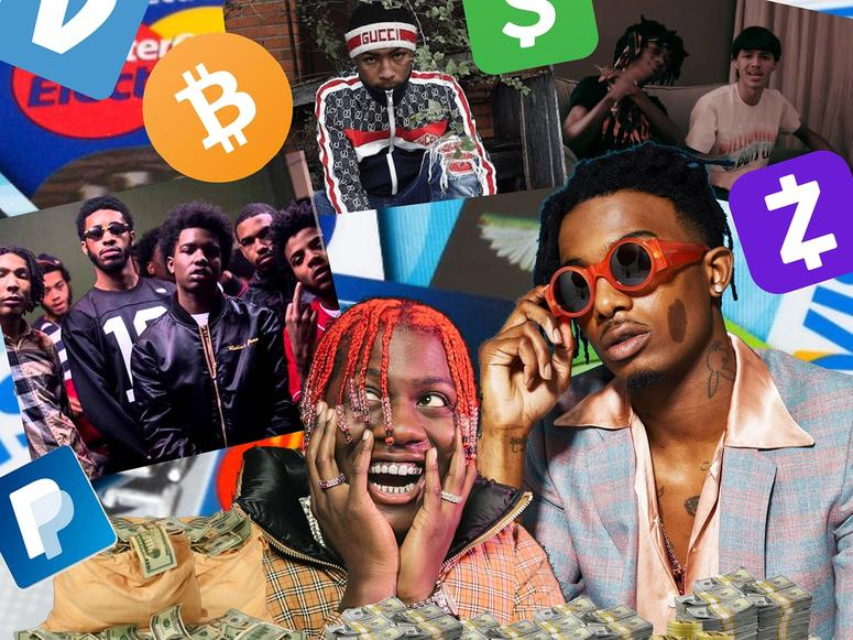 A digital collage featuring scam rap stars, financial app logos, and piles of bitcoin tokens and U.S. dollars.