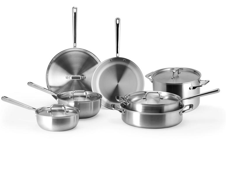 Misen's seven-piece cookware set on a white background.