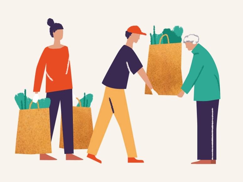 An illustration of two younger adults sharing a bag of groceries with an older adult.