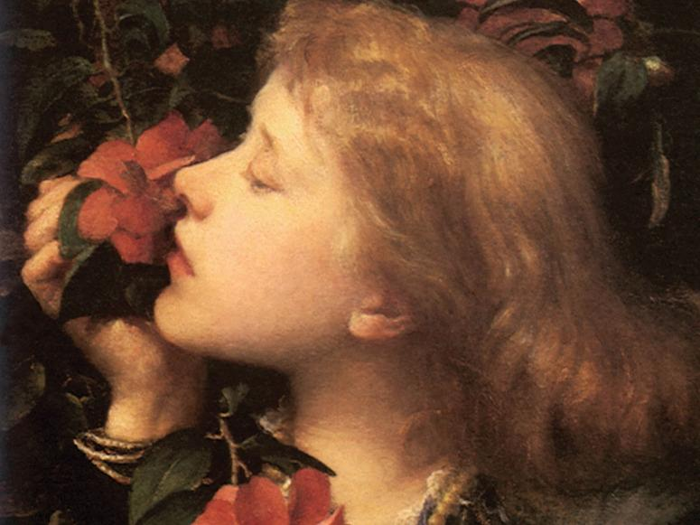 A painting depicts a young woman smelling a red flower.