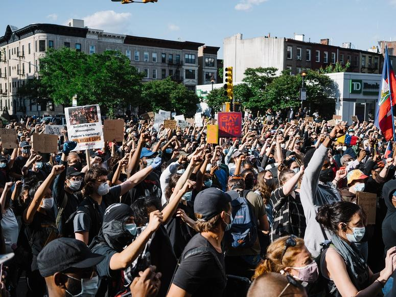 A large crowd protesting for Black Lives Matter in New York City.