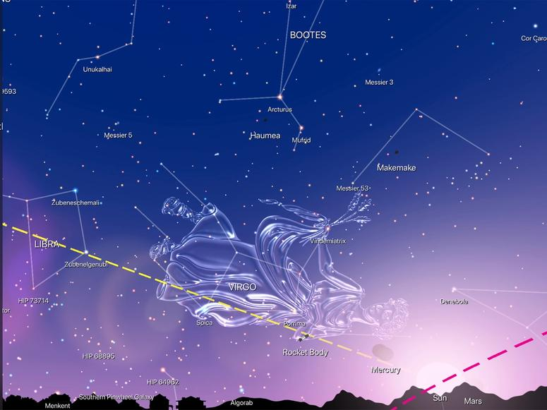 An illustration from Night Sky featuring the Virgo constellation.