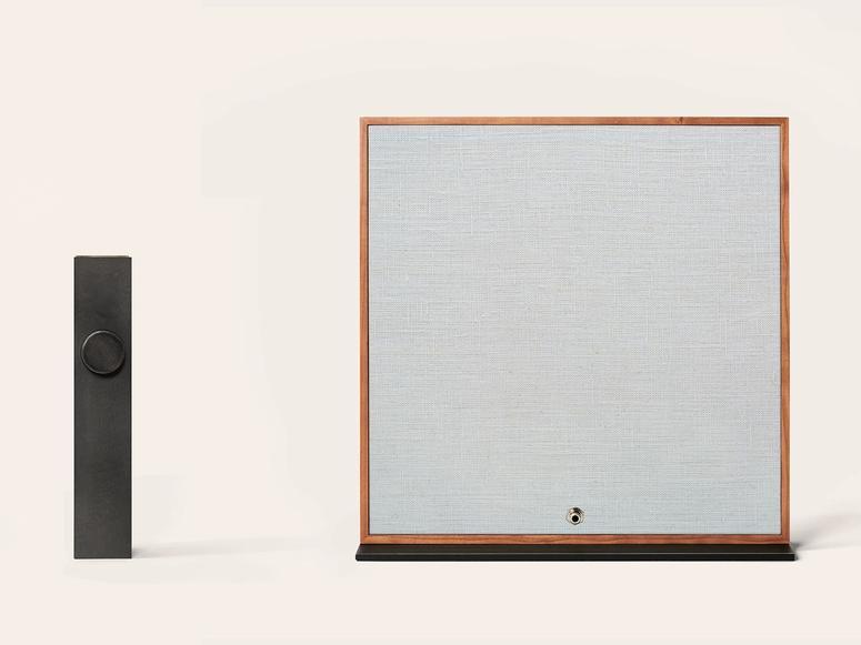The Oda sound system on a creme background.