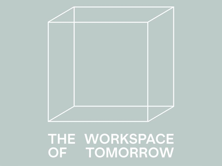 The Workspace of Tomorrow cover art, featuring a white cube and text on grey-green background.