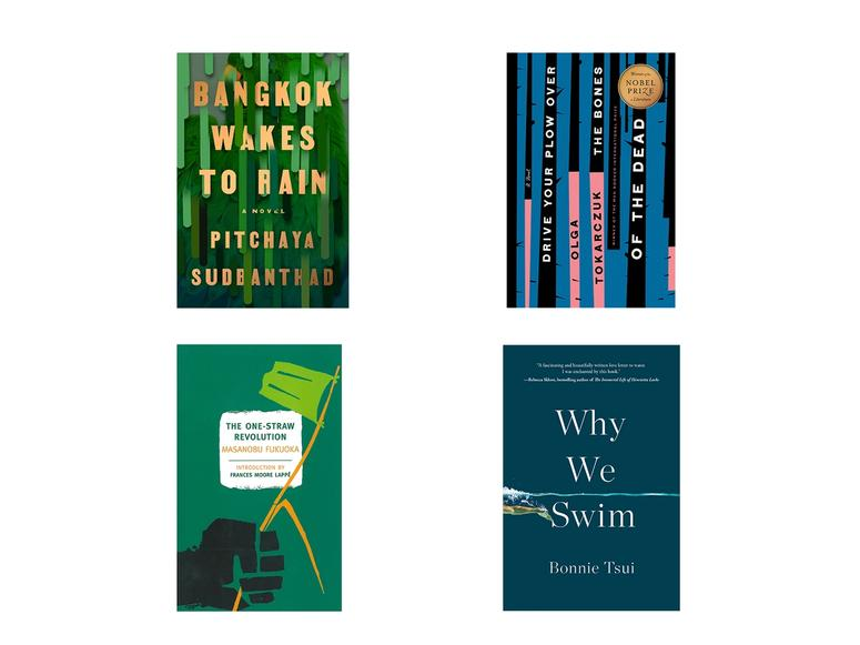 Four book covers from titles about the climate crisis on a white background