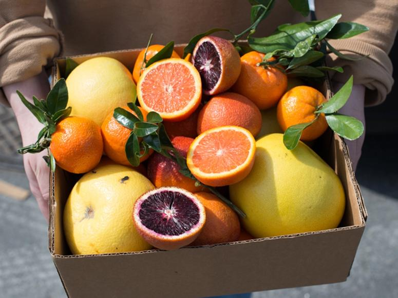 A box of orange, red, and yellow citrus fruits.