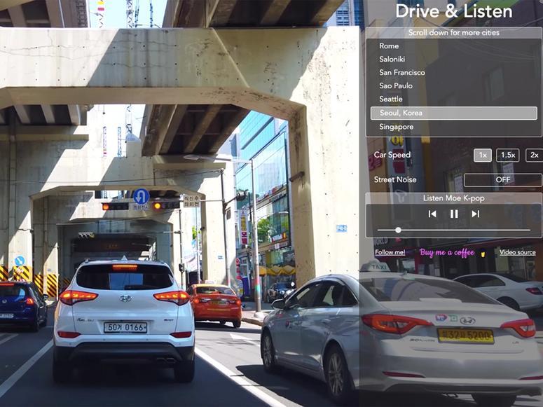 A screen shot of the Drive & Listen website