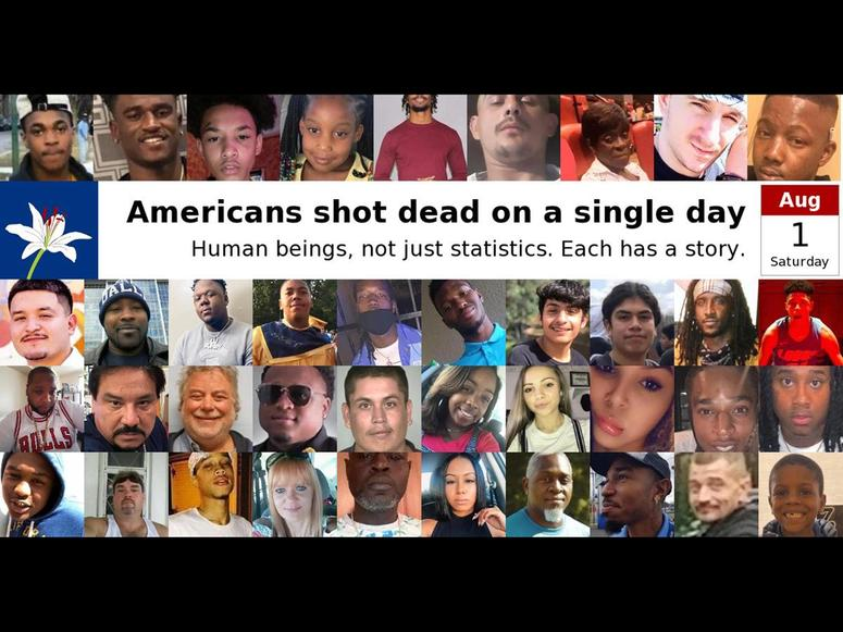 A photo collage of faces of people lost to gun violence
