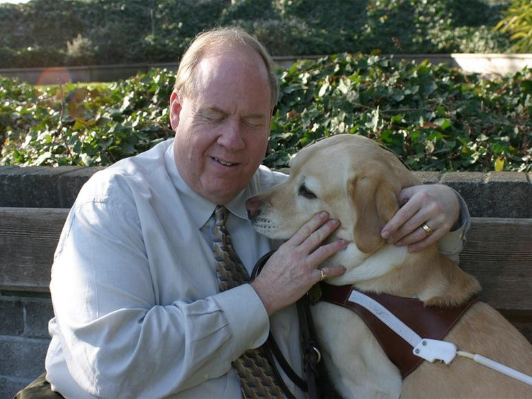 9/11 survivor Michael Hingson and his guide dog, Roselle.