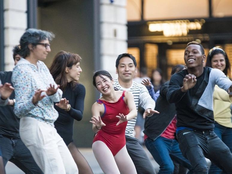 People dancing at London's Covent Garden