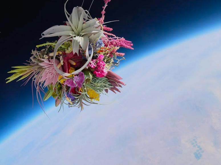 A bouquet of flowers floating in outer space above planet Earth