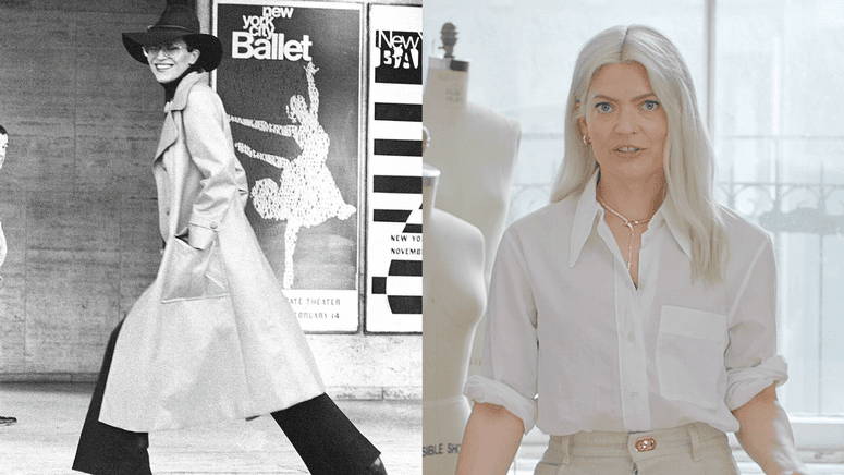Split screen of jewelry designer Elsa Peretti and fashion stylist Kate Young