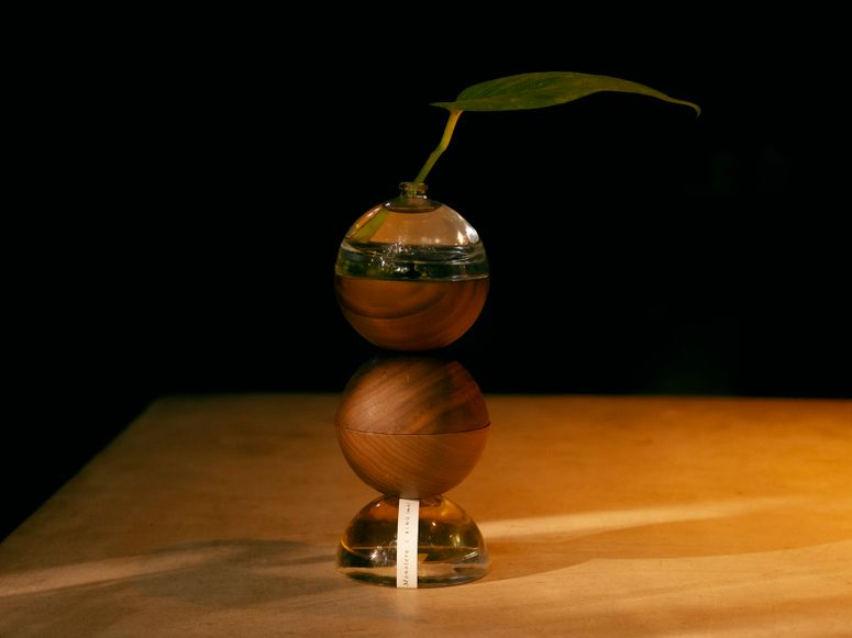 Stacked wood and glass orbs with a leaf growing out of the top