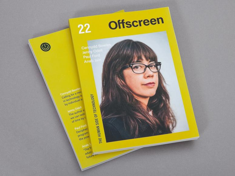 Two copies of Offscreen magazine featuring a woman with black glasses on the front cover.