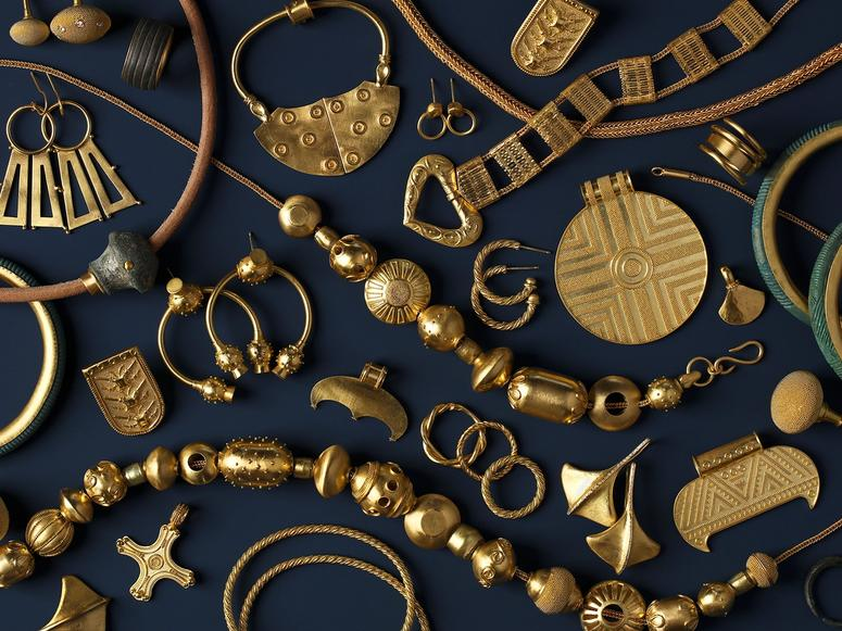 Gold jewelry from Loren Teetelli's Viking Trove collection.