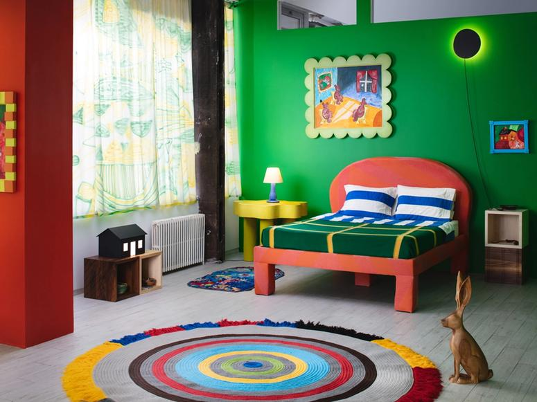 """Installation view of a room inspired by furniture from the book """"Goodnight Moon"""""""