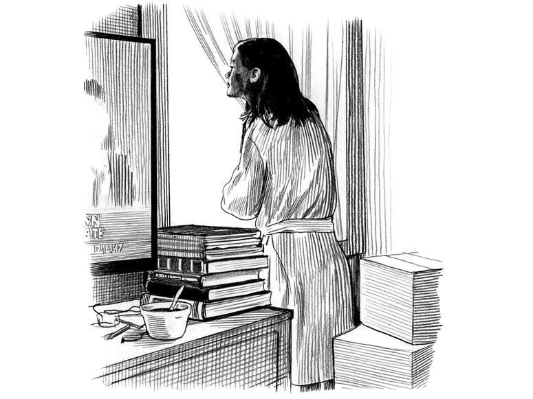 A drawing of a woman looking into a mirror near a window.