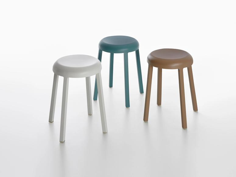 Three stools in white, blue, and brown.