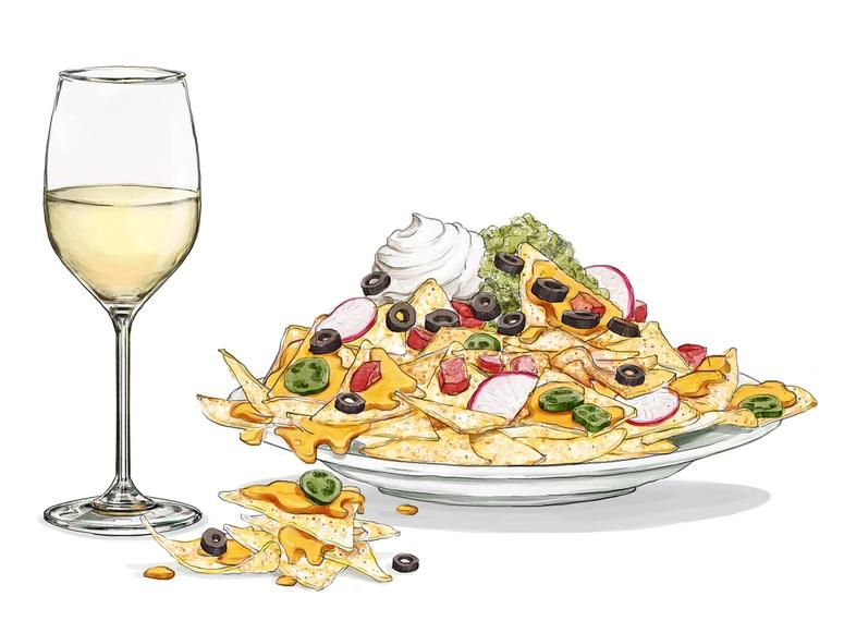 An illustration of a glass of white wine next to a heaping plate of nachos.