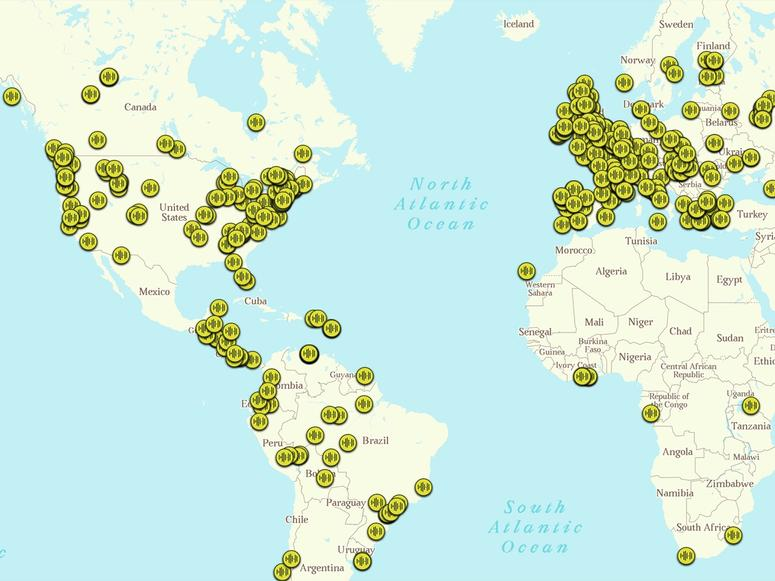A map detailing the global locations of Sounds of the Forest's audio postcards.