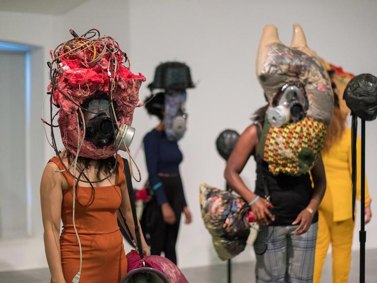 """Performers in Kevin Beasley's 2016 sound project """"Your Face Is/Is Not Enough."""" (Photo: Mark McNulty)"""