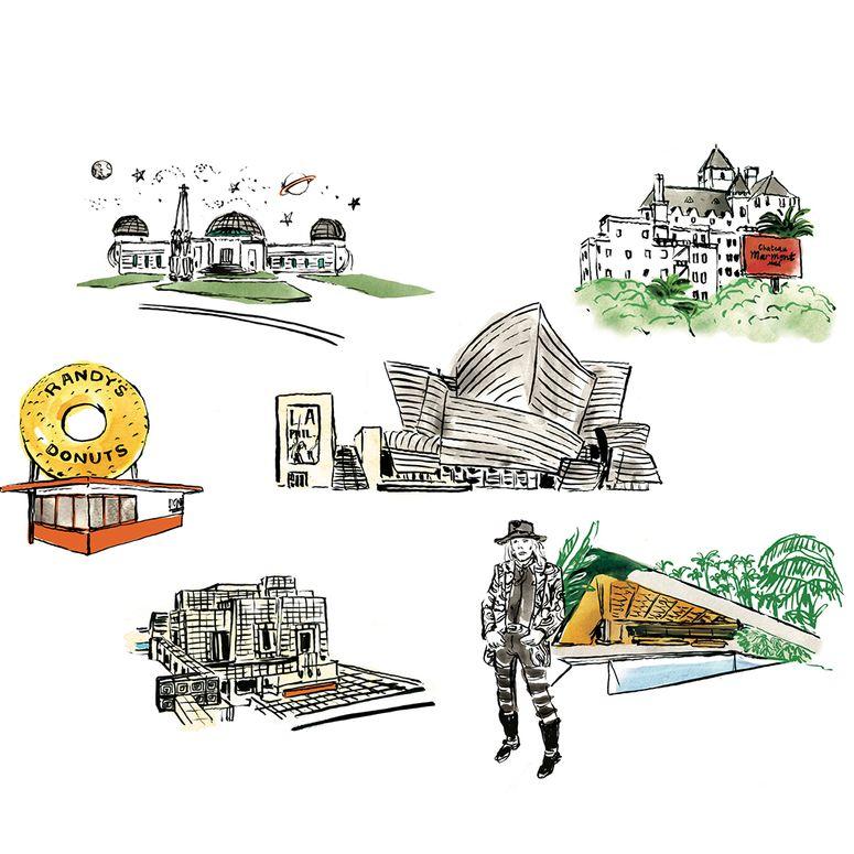 Illustrations of various Los Angeles landmark buildings.