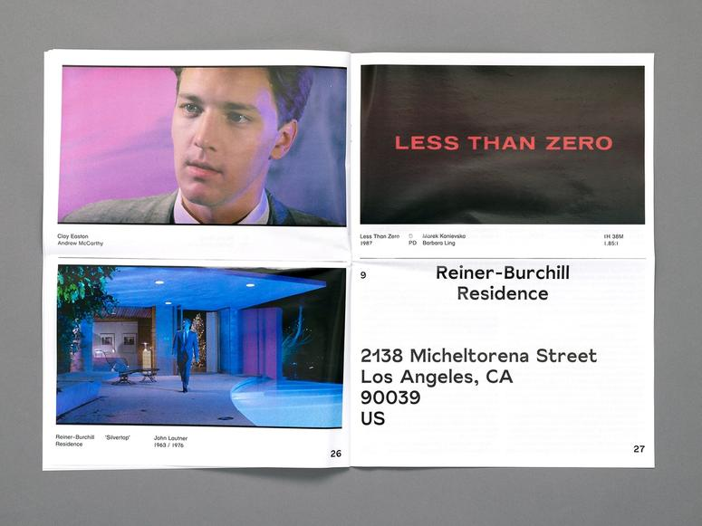 """Four images arranged in a grid depicting a man in a suit, the words """"Less than Zero"""" in red on a black background, an address, and a picture of an outdoor courtyard"""