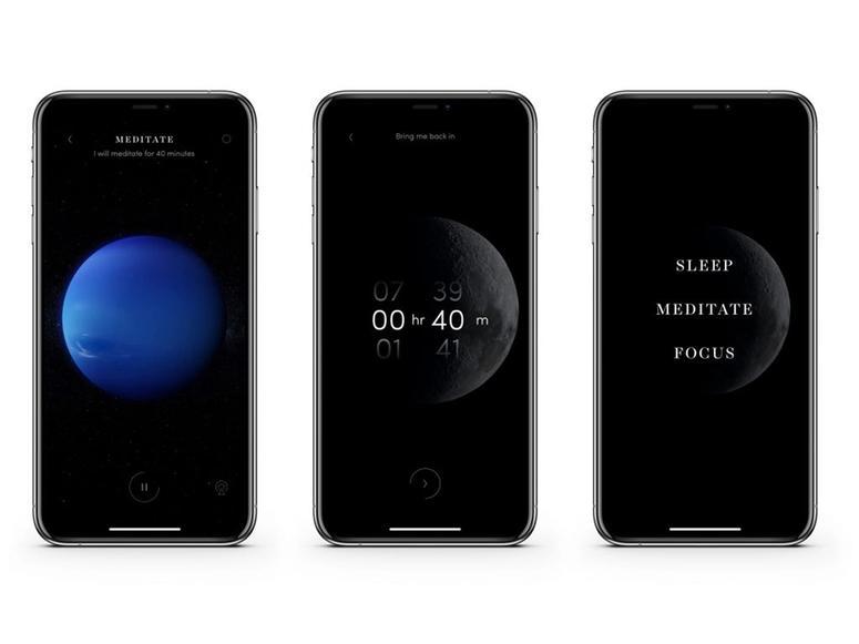 Three screens from Max Richter's Sleep app.